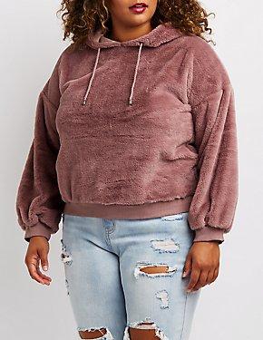 Plus Size Faux Fur Hoodie