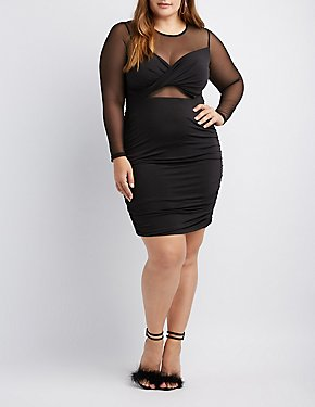 Plus Mesh-Trim Ruched Bodycon Dress