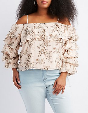 Plus Size Floral Cold Shoulder Ruched Sleeve Top