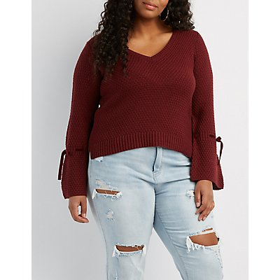 Plus Size Bell Sleeve V-Neck Sweater