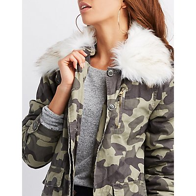 Faux Fur-Trim Camo Print Jacket