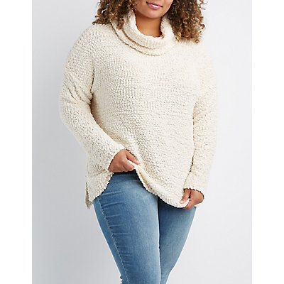 Plus Size Cowl Neck Pullover Sweater