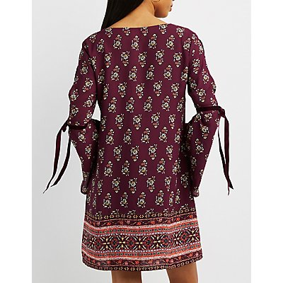 Printed V-Neck Shift Dress