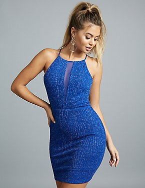 Glitter Mesh-Inset Bodycon Dress