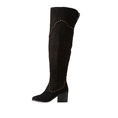 Faux Suede Studded Over-The-Knee Boots