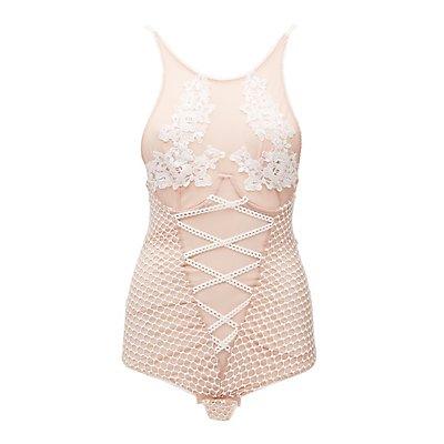 Crochet-Trim Mesh Bodysuit
