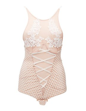 Crochet-Trim Mesh Bodysuit