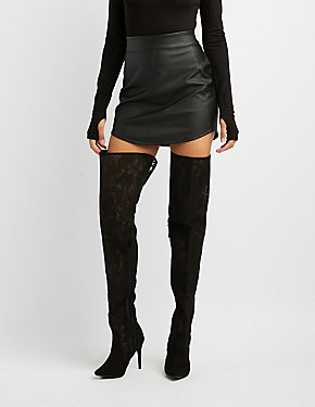 Pointed Toe Lace Over-The-Knee Boots