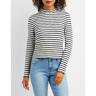 Lettuce-Trim Trio Striped Top