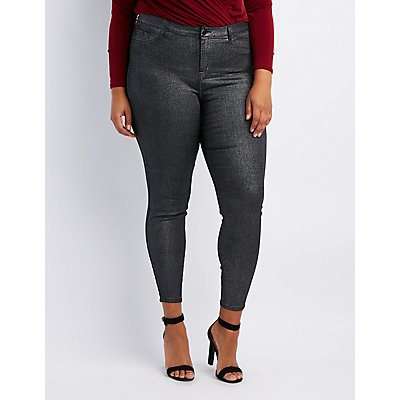 Plus Size Refuge Metallic Coated Skin Tight Legging Jeans