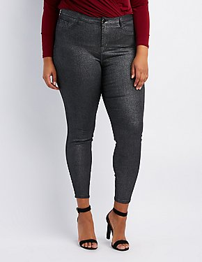Plus Size Refuge Metallic Coated Skin Tight Legging Jeans