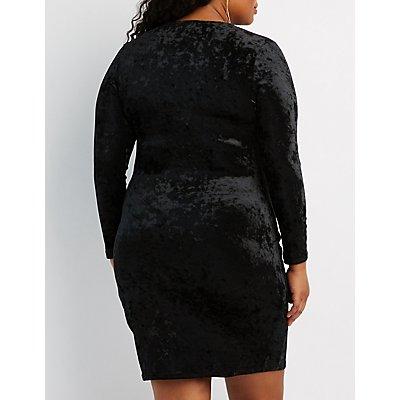 Plus Size Velvet Bodycon Wrap Dress