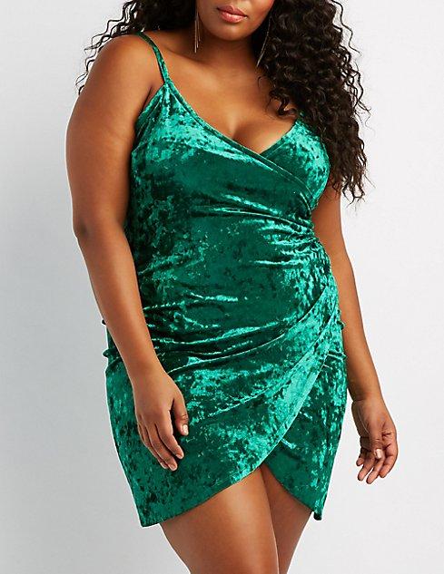 Plus Size Velvet Bodycon Wrap Dress | Charlotte Russe