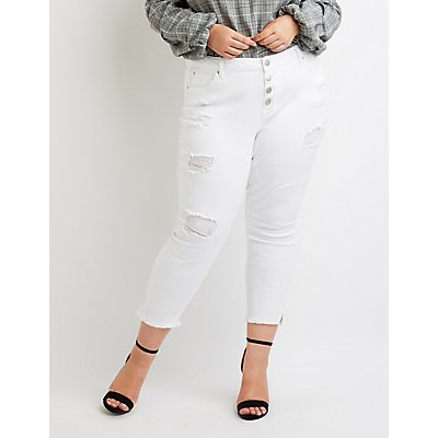 Plus Size Refuge Crop Skinny Destroyed Jeans