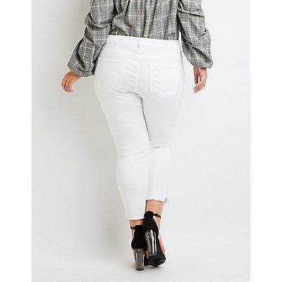 Plus Size Refuge Crop Skinny Destroyed Jeans