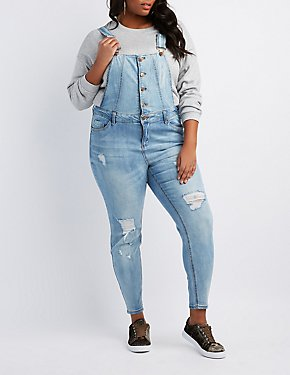 Plus Size Dollhouse Destroyed Button-Up Overalls
