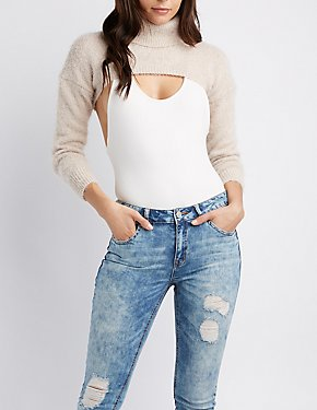 Feather Knit Open Cropped Turtleneck Sweater