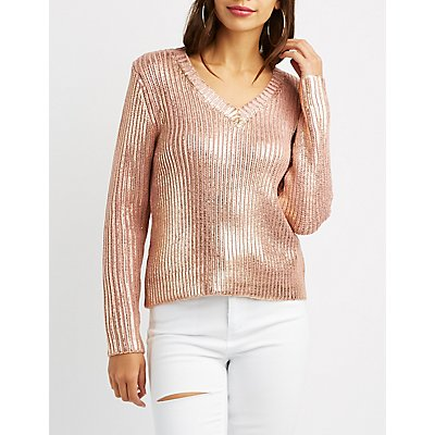 Metallic Ribbed Knit Sweater