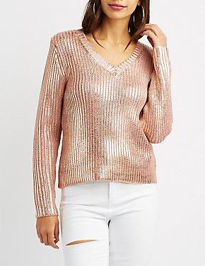 Metallic Ribbed Knit Sweater