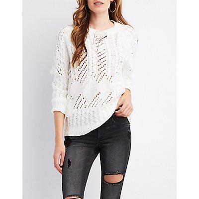 Mixed Knit Fringe Detail Sweater