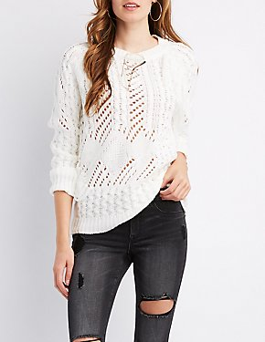 Mixed Knit Fringe Detail Sweater