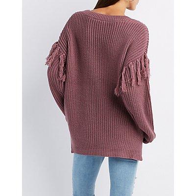 Fringe-Detailed Pullover Sweater