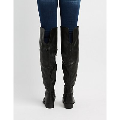 Bamboo Faux Leather Over-The Knee Boots
