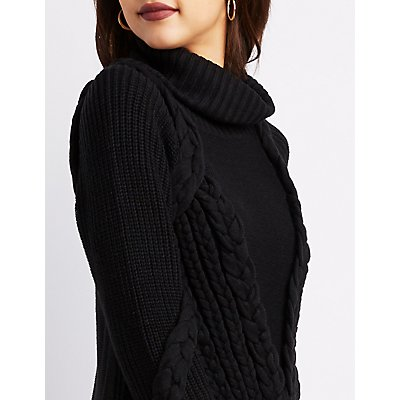 Cowl Neck Mixed Knit Pullover Sweater