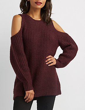 Feather Yarn Cold Shoulder Sweater