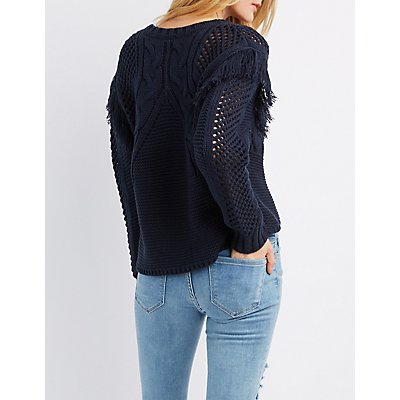 Mixed Knit Fringe-Detailed Pullover Sweater