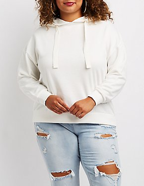 Plus Size Lace-Up Back Hoodie