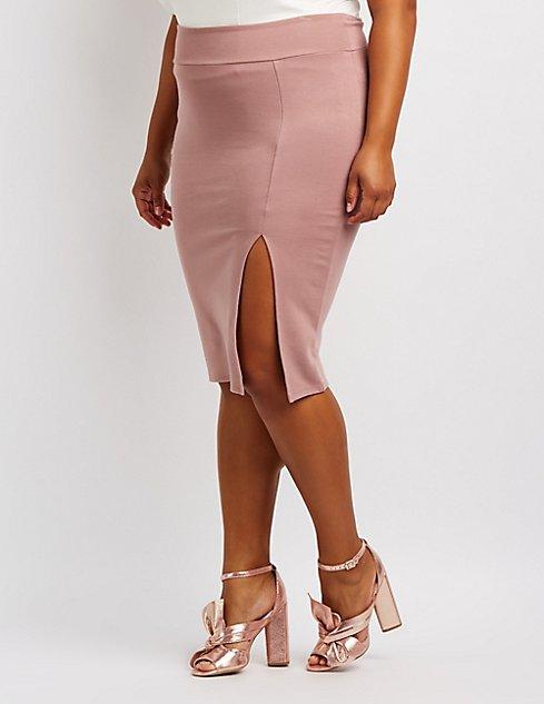 5088c5023 Plus Size Bodycon Midi Skirt | Charlotte Russe