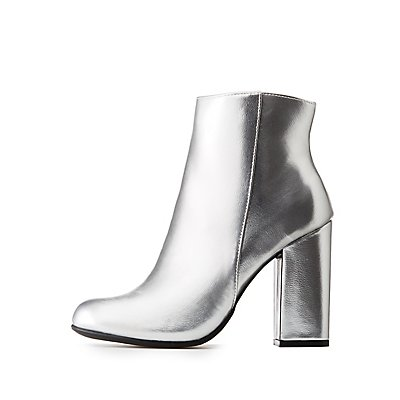 Bamboo Metallic Ankle Booties