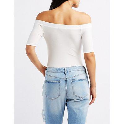 Ribbed Off-The-Shoulder Bodysuit