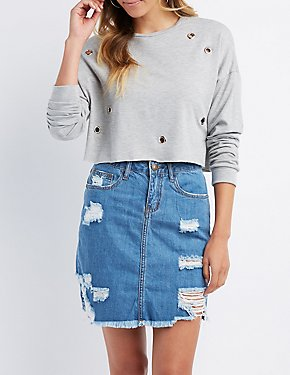 Grommet-Detail Cropped Sweatshirt