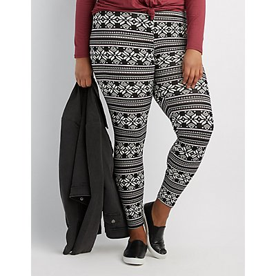 Plus Size High-Waisted Printed Leggings