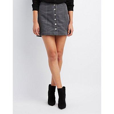 Cargo Button-Up Mini Skirt
