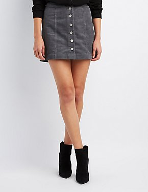 Cargo Button-Up Mini Skirt
