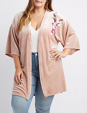 Plus Size Floral Embroidered Velvet Kimono Duster