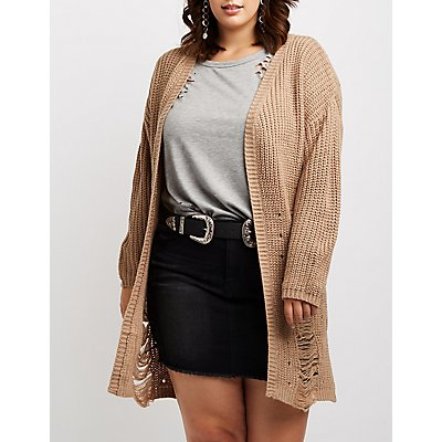 Plus Size Destroyed Open-Front Cardigan