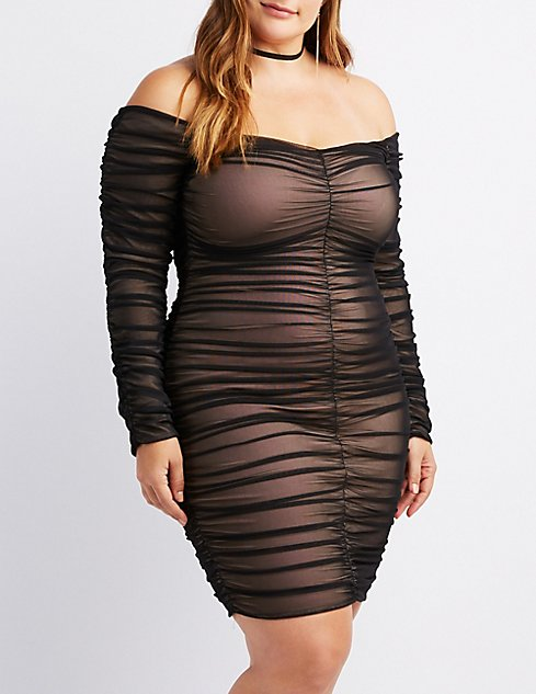 Plus Size Ruched Mesh Bodycon Dress | Charlotte Russe