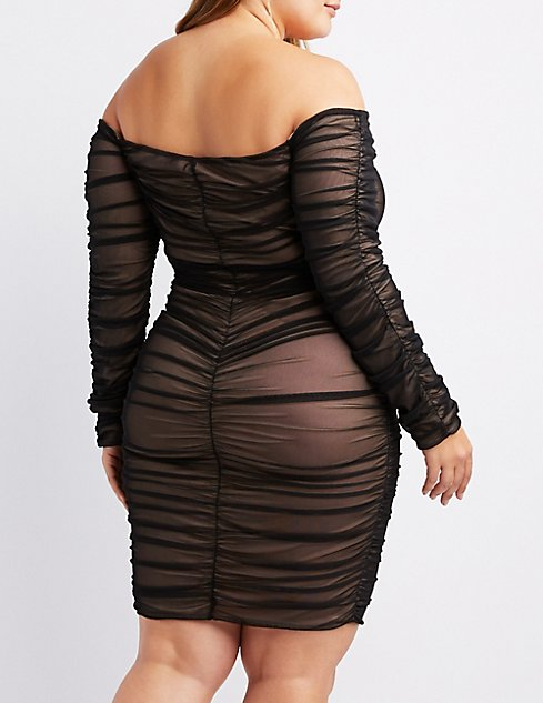 Plus Size Ruched Mesh Bodycon Dress Charlotte Russe