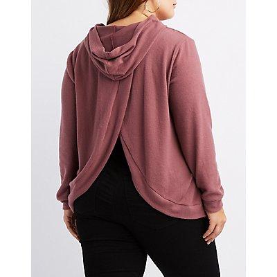 Plus Size Hacci Open-Back Sweatshirt