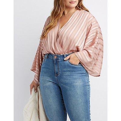Plus Size Shadow Stripe Bodysuit