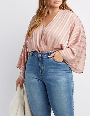 Plus Size Shadow Stripe Velvet Bodysuit
