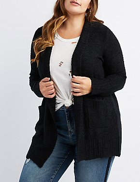 Plus Size Fuzzy Open-Front Cardigan