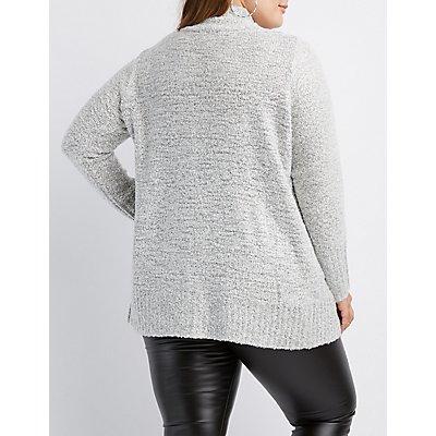 Plus Size Boucle Open-Front Cardigan