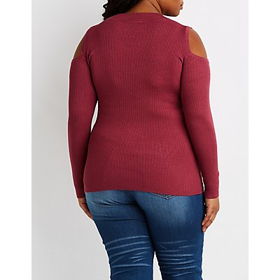 Plus Size Ribbed Cold Shoulder Mock Neck Top