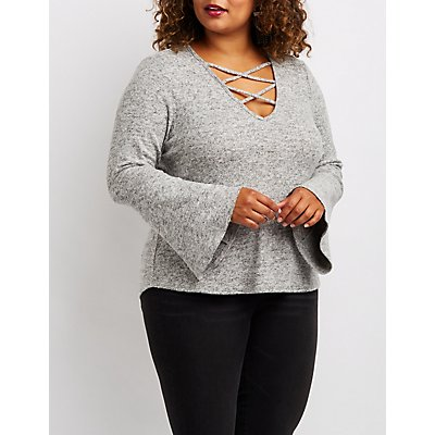 Plus Size Caged Bell Sleeve Hacci Sweater