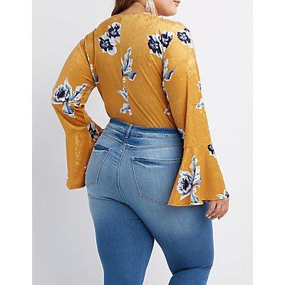 Plus Size Floral Crushed Velvet Bodysuit